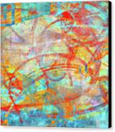 Work 00099 Abstraction In Cyan, Blue, Orange, Red Canvas Print by Alex Hall