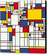 World Map Abstract Mondrian Style Canvas Print by Michael Tompsett