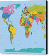 World Map Bright Canvas Print by Michael Tompsett