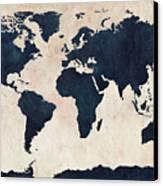 World Map Distressed Navy Canvas Print by Michael Tompsett