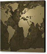 World Map Gold Canvas Print by Michael Tompsett