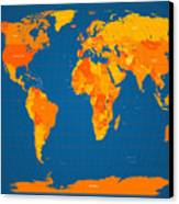 World Map In Orange And Blue Canvas Print