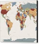 World Map Muted Colors Canvas Print by Michael Tompsett