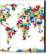 World Map Paint Drops Canvas Print by Michael Tompsett