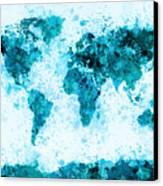World Map Paint Splashes Blue Canvas Print by Michael Tompsett