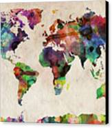 World Map Watercolor Canvas Print by Michael Tompsett