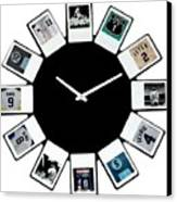 yankees Clock Canvas Print by Paul Van Scott