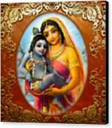 Yashoda And  Krishna 3 Canvas Print by Lila Shravani