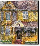 Yellow Batik House Canvas Print by Arline Wagner
