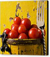 Yellow Bucket With Tomatoes Canvas Print by Garry Gay