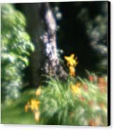 Yellow Flowers In Monets Garden Canvas Print