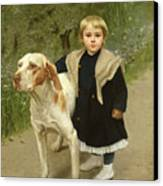 Young Child And A Big Dog Canvas Print