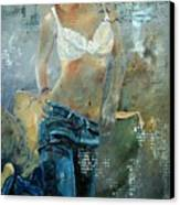 Young Girl In Jeans  Canvas Print