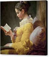 Young Girl Reading Canvas Print