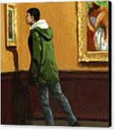 Young Man Viewing Art - Painting Canvas Print