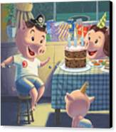 Young Pig Birthday Party Canvas Print by Martin Davey