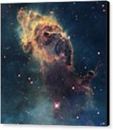 Young Stars Flare In The Carina Nebula Canvas Print by Nasa/Esa