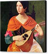 Young Woman With A Mandolin Canvas Print