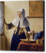 Young Woman With A Water Jug Canvas Print by Jan Vermeer
