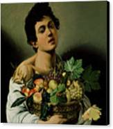 Youth With A Basket Of Fruit Canvas Print by Michelangelo Merisi da Caravaggio