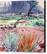 Yucca And Buttes Canvas Print