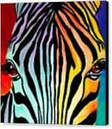 Zebra - End Of The Rainbow Canvas Print by Alicia VanNoy Call