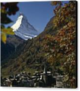 Zermatt Village With The Matterhorn Canvas Print by Thomas J. Abercrombie