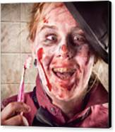 Zombie At Dentist Holding Toothbrush. Tooth Decay Canvas Print by Jorgo Photography - Wall Art Gallery