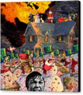Zombie Snowmen Christmas Canvas Print by Barry Kite