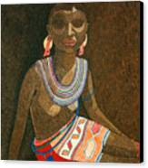 Zulu Woman With Beads Canvas Print