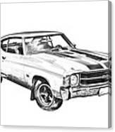 1971 Chevrolet Chevelle Ss Illustration Canvas Print