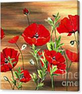 Abstract Poppies Painting On Wood Canvas Print