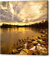 Androscoggin River Between Lewiston And Auburn Canvas Print