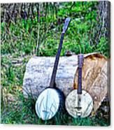 Banjos At The Woodpile Canvas Print