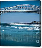 Blue Water Bridges With Reflection And Ice Flow Canvas Print