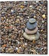 Cairn On Wet Pebbles Canvas Print
