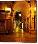 Clock Tower Venice Italy And The Path To Merceria Canvas Print