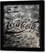 Coca Cola Sign Grungy Red Retro Style Canvas Print