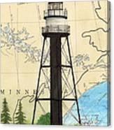 Duluth Harbor S Breakwater Inner Lighthouse Mn Nautical Chart Art Canvas Print