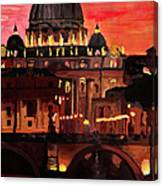 Eternal City  Rome St Peter Vatican At Dusk Canvas Print
