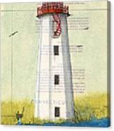 Faulkner Island Lighthouse Ct Nautical Chart Map Art Canvas Print