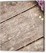 Flower Frame On On Wood Background Canvas Print