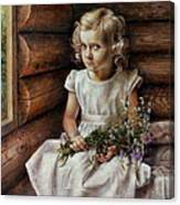 Girl With Wild Flowers Canvas Print
