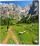 Hiking In Contrin Valley Canvas Print