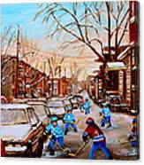 Hockey Art- Verdun Street Scene - Paintings Of Montreal Canvas Print