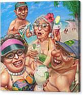 Humorous Snowbirds On Vacation - Senior  Citizen Citizens - Beach - Illustration  Canvas Print
