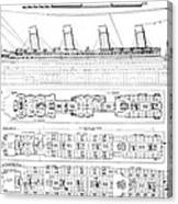Inquiry Into The Loss Of The Titanic Cross Sections Of The Ship  Canvas Print