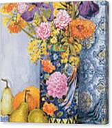 Iris And Pinks In A Japanese Vase With Pears Canvas Print