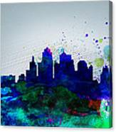Kansas City Watercolor Skyline Canvas Print