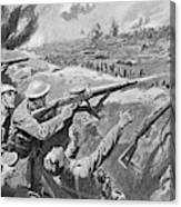 Lewis Gun In The British Trenches Canvas Print